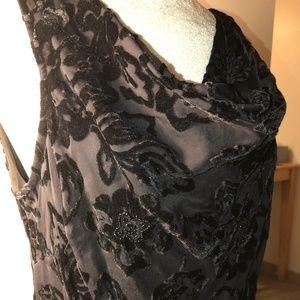 Eva Blue Dresses - Black dress with black velvet floral designs